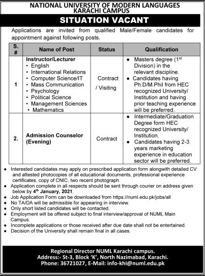 Psychology Faculty Required at NUML Dec 2020