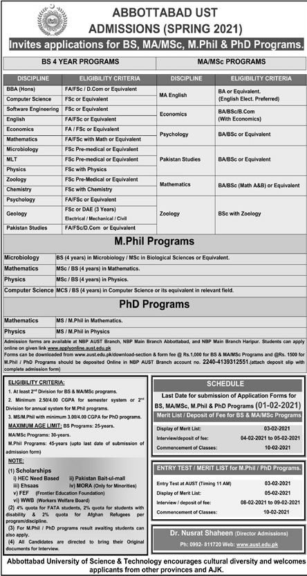 Abbottabad University Of Science And Technology admissions Jan 2021