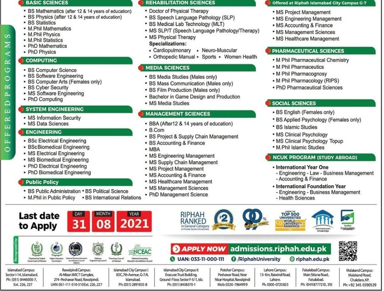 Riphah International University Islamabad Admissions for August 2021
