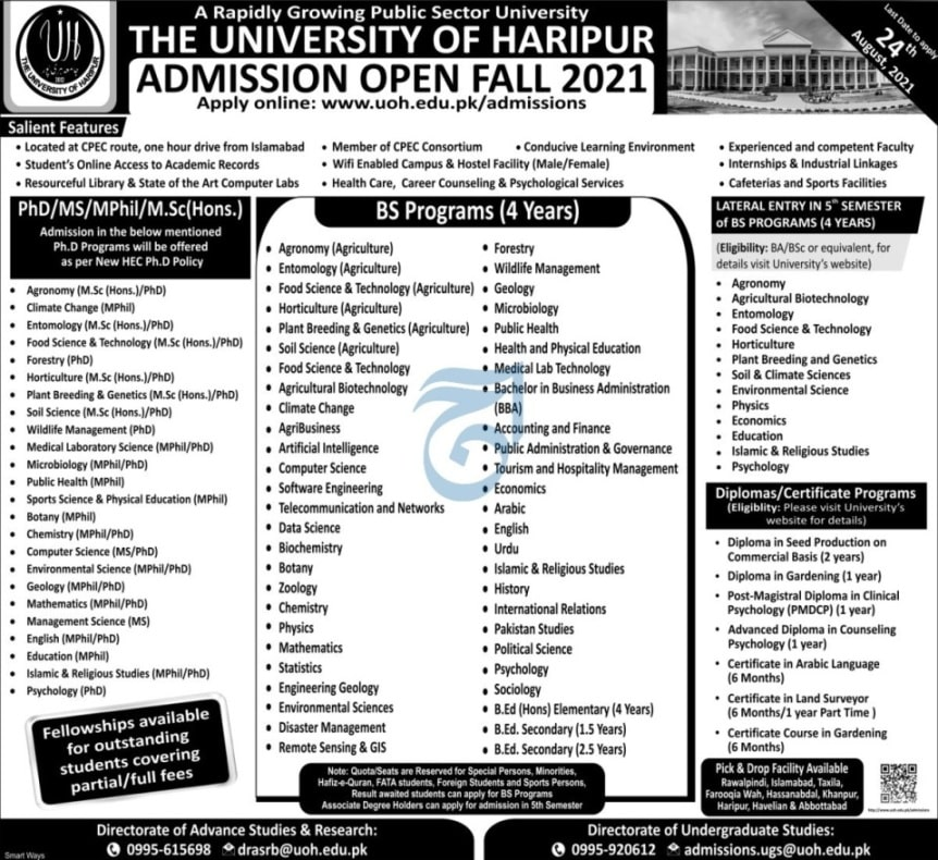 University Of Haripur Admissions August 2021