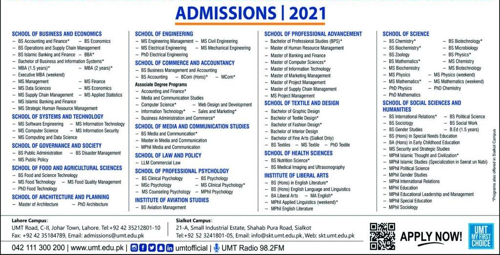 University Of Management And Technology Lahore Admissions for Jan 2021