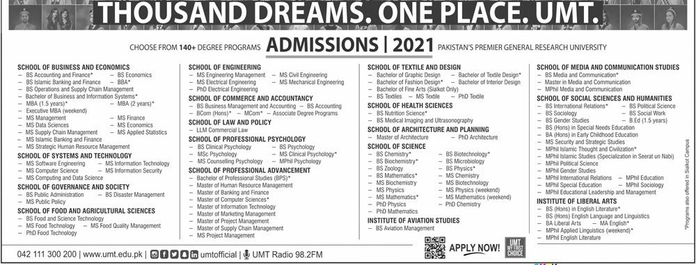 University Of Management And Technology Lahore Admissions for Mar 2021