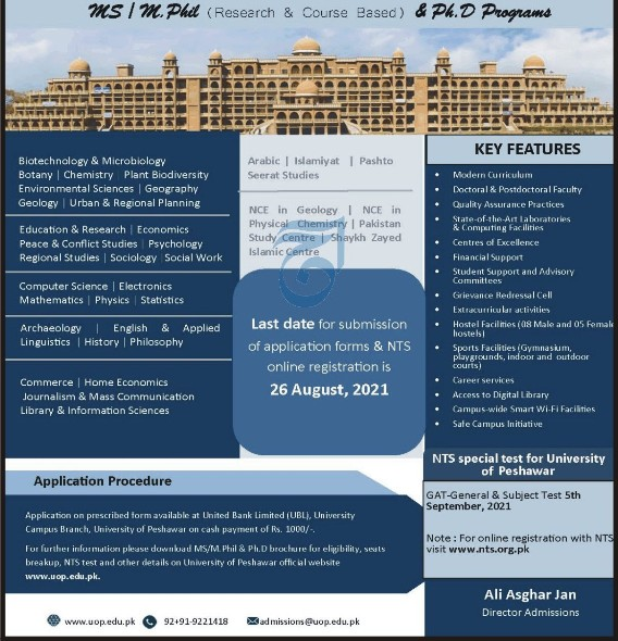University of Peshawar Admissions for August 2021