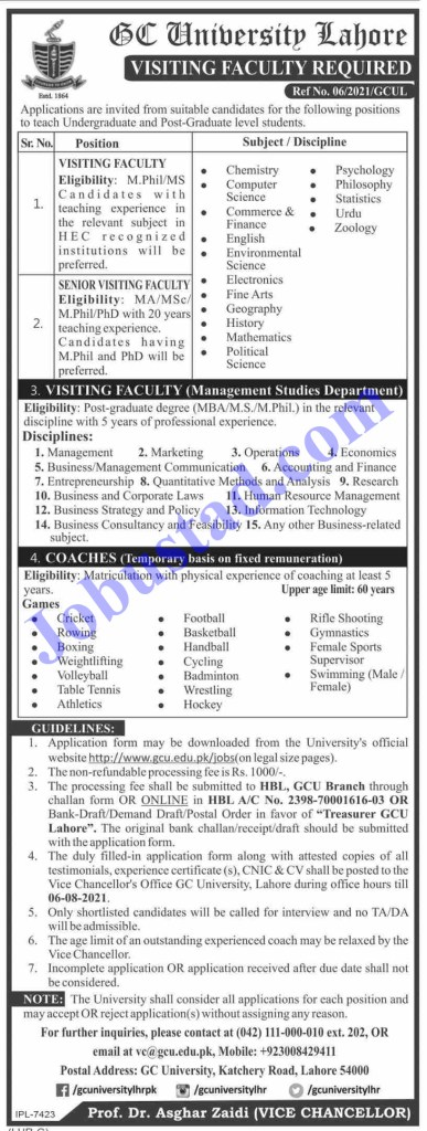 Psychology Faculty Jobs in GC University Lahore August 2021