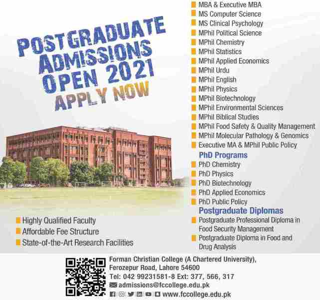 Forman Christian College Lahore Admissions July 2021 MS