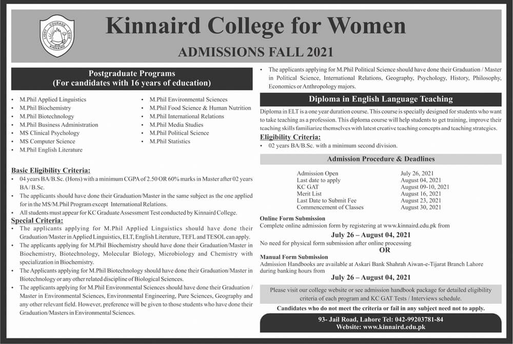 Kinnaird College For Women Lahore Admissions July 2021
