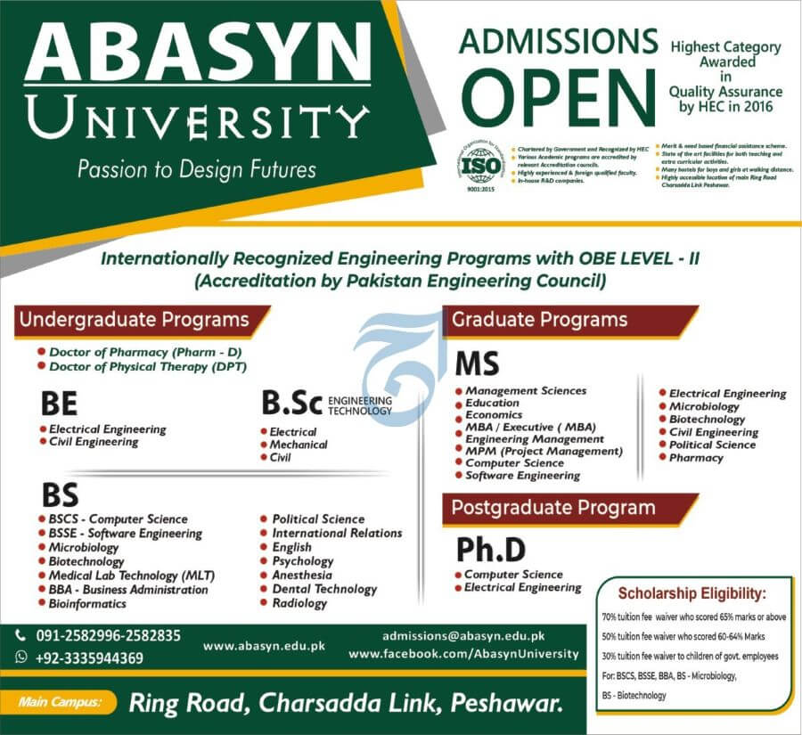 Abasyn University Peshawar Admissions for August 2021