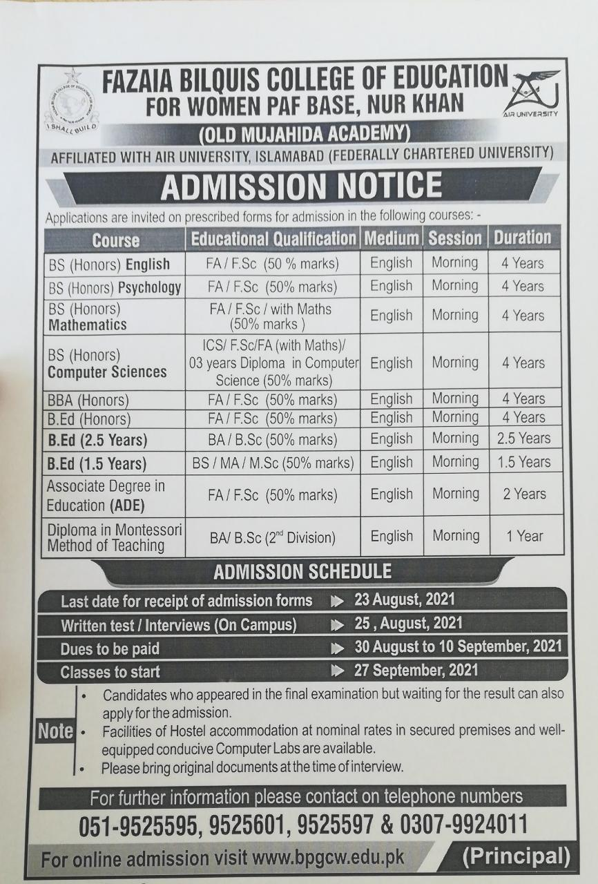 Bilquis College Of Education For Women Admissions August 2021