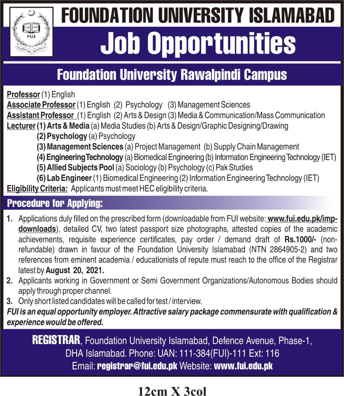 Faculty Jobs in Foundation University August 2021