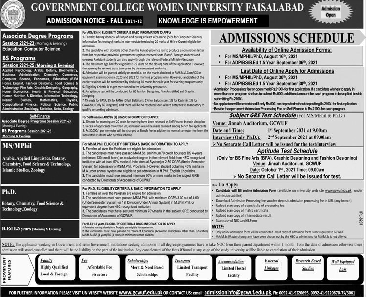 Government College Women University Faisalabad Admissions August 2021
