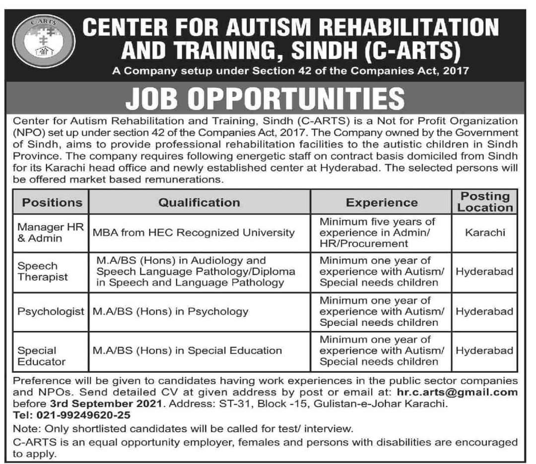 Psychologist Jobs in Center For Autism Rehabilitation and Training Sindh August 2021