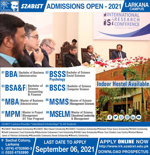 Shaheed Zulfiqar Ali Bhutto Institute Of Science and Technology Admissions August 2021