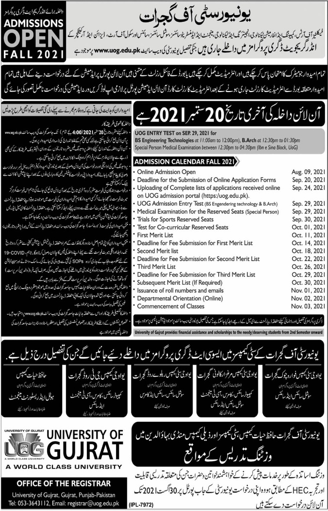 University Of Gujrat Admissions August 2021