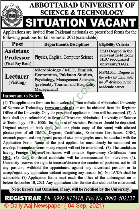 Faculty Jobs in Abbottabad University of Science and Technology September 2021