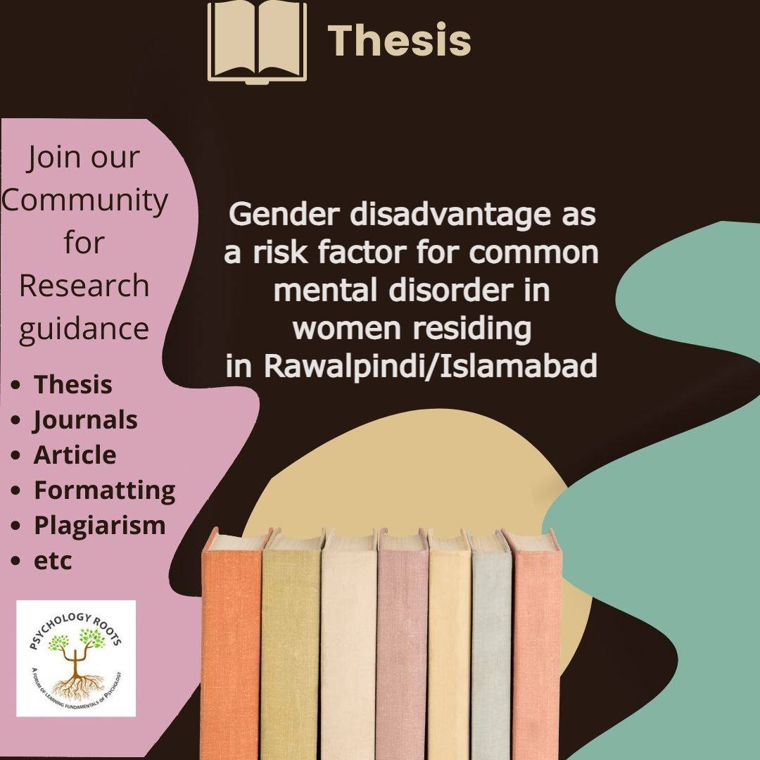 Gender disadvantage as a risk factor for common mental disorder in women residing in Rawalpindi/Islamabad